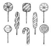 Конфеты и набор doodle леденца на палочке иллюстрация штока