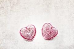 2 конфеты сердца форменных с верхним слоем текстуры Стоковое Фото