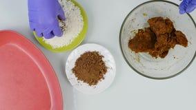 Конфеты шоколада подготовки handmade дома Кондитер делает десерты Украшающ и делающ шоколадом круглые торты акции видеоматериалы