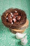 Конфеты шоколада пасхального яйца форменные в гнезде Стоковая Фотография RF