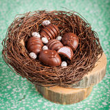 Конфеты шоколада пасхального яйца форменные в гнезде Стоковые Изображения