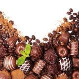 Конфеты шоколада Собрание красивых бельгийских трюфелей Стоковое фото RF