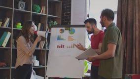 Конфликт дела в офисе Женский босс крича в мегафоне на продажах объединяется в команду видеоматериал