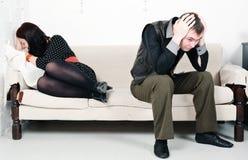 Конфликт между человеком и женщиной Стоковое Фото