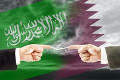 Конфронтация и вражда между Саудовской Аравией и Катаром стоковые изображения