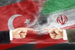 Конфронтация и вражда между Турцией и Ираном стоковая фотография