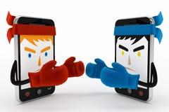 Конфликт или бой мобильного телефона Стоковые Фотографии RF