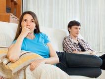 Конфликт пар Унылая женщина после ссоры Стоковое Изображение RF