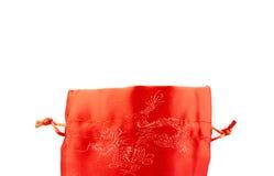 Конца сумка ткани вверх открытая красная или плен ang с patte китайского стиля Стоковое Изображение