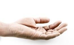 Конца темнота вверх открытые и рука grunge на белой предпосылке Стоковое Фото