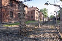 КОНЦЕНТРАЦИОННЫЙ ЛАГЕРЬ AUSCHWITZ-BIRKENAU, ПОЛЬША - ИЮНЬ 2017: Концентрационный лагерь Освенцим в Польше E стоковые фотографии rf