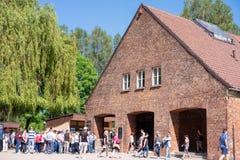 КОНЦЕНТРАЦИОННЫЙ ЛАГЕРЬ AUSCHWITZ-BIRKENAU, ПОЛЬША - ИЮНЬ 2017: Концентрационный лагерь Освенцим в Польше E стоковые изображения