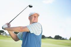 Концентрировать игрока в гольф принимая съемку Стоковое Изображение