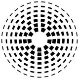 Концентрическая брошенная линия объезжает - абстрактный геометрический элемент на w иллюстрация вектора