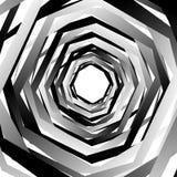 Концентрические геометрические шестиугольники/восьмиугольники Абстрактное PA monochrome Стоковое фото RF