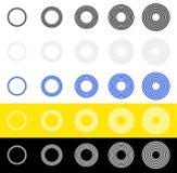 Концентрические круги, кольца в последовательности Абстрактный radial, circula Стоковые Изображения