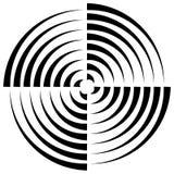 Концентрические круги отрезали в квартале - абстрактном monochrome radiat Стоковая Фотография