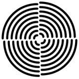 Концентрические круги отрезали в квартале - абстрактном monochrome radiat Стоковая Фотография RF