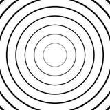 Концентрические круги, радиальные линии картины Monochrome конспект Стоковое фото RF