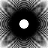 Концентрические круги, радиальные линии картины Monochrome конспект Стоковая Фотография RF