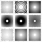 Концентрические круги, радиальные линии картины Monochrome конспект Стоковые Изображения RF