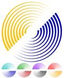 Концентрические круги, сигнал, спиральные формы Больше красит включенный Стоковые Фото
