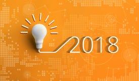 концепции 2018 воодушевленности творческих способностей с лампочкой Стоковые Изображения