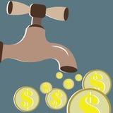 Концепции денег с денежными потоками Стоковое фото RF