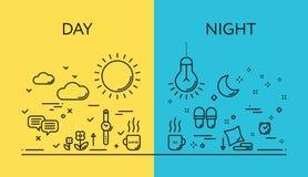 Концепции иллюстрации вектора дней и ночи Стоковое Изображение