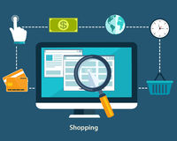 Концепции онлайн товаров методов и приобретения оплаты Плоское desi Стоковые Изображения