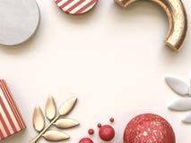 концепции рождества перевода 3d форма красного золота предпосылки геометрической плоская положенная абстрактная стоковые изображения