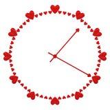 Концепции: Сторона таймера любов со знаками формы сердца стоковое фото