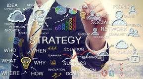 Концепции стратегии чертежа бизнесмена Стоковая Фотография