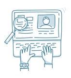 Концепции для искать профессиональные сотрудники, анализируя резюме Стоковое Изображение RF