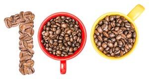 100 концепций кофе номера Стоковые Изображения