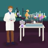 Концепция лаборатории ученых при человек делая иллюстрацию вектора исследования Стоковое Изображение