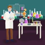 Концепция лаборатории ученых при человек делая иллюстрацию вектора исследования Стоковое Изображение RF