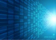 Концепция абстрактной технологии с голубым неоновым радиальным светом разрывала ef стоковая фотография rf
