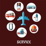 Концепция авиапорта плоская с пиктограммами обслуживания Стоковые Изображения RF