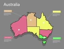 Концепция Австралии карты Стоковые Изображения