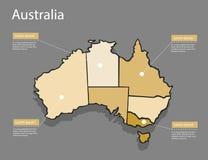 Концепция Австралии карты Стоковые Изображения RF