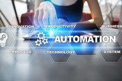 Концепция автоматизации как нововведение, улучшая урожайность, надежность в технологии и бизнес-процессы стоковые изображения