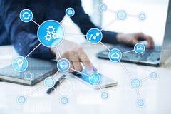 Концепция автоматизации как нововведение, улучшая урожайность, надежность в технологии и бизнес-процессы стоковое изображение