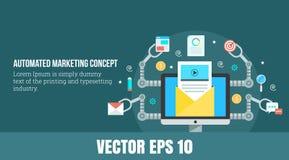 Концепция автоматизации маркетинга - знамя сети - vector иллюстрация Стоковое Изображение RF