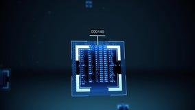 Концепция алгоритма искусственного интеллекта или Nanobytes - близкое поднимающее вверх иллюстрация штока