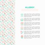 Концепция аллергии с тонкой линией значками: жидкий нос, пыль, течь глаза, непереносимость лактозы, цитрус, морепродукты, клейков бесплатная иллюстрация