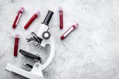 Концепция анализа крови Пробы крови приближают к микроскопу на сером космосе экземпляра взгляд сверху предпосылки Стоковое фото RF