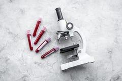 Концепция анализа крови Пробы крови приближают к микроскопу на сером космосе экземпляра взгляд сверху предпосылки Стоковое Изображение RF
