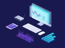 Концепция аналитика дела цифров равновеликая стратегия 3d infographic с компьтер-книжкой, tablet финансовые диаграммы маркетинг иллюстрация штока