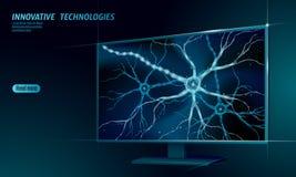 Концепция анатомии человеческого нейрона низкая поли Вычислять облака дисплея дома искусственной нервной технологии сети умный AI бесплатная иллюстрация